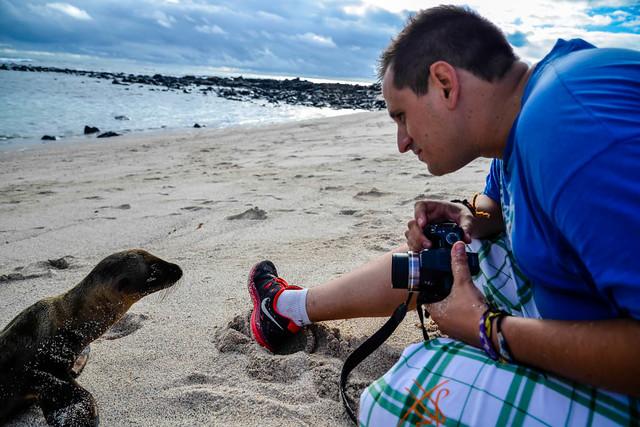 Con una cría de león marino en la Lobería de San Cristóbal (Galápagos)
