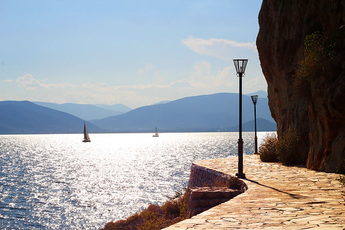 blue sea sky sun sunlight nature reflections walking landscape rocks sailing afternoon view path walk awesome horizon lamps stroll seaview skyview dazzling nafplio nauplio peloponnese nauplion