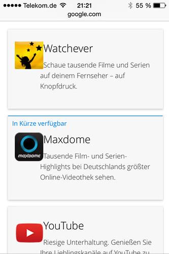 21 - Google Chromecast - Auswahl Apps iPhone