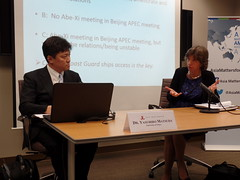 Dr. Yasuhiro Matsuda (left) and Dr. Ellen Frost (right) weigh the scenarios of a possible meeting between Presidents Abe and Xi at the upcoming APEC Summit.