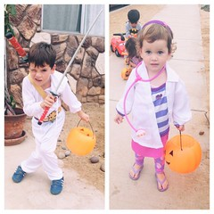 Zane & Doc McStuffins ready to go! #costume #halloween #10daysoffloaties @floatiesswimschool