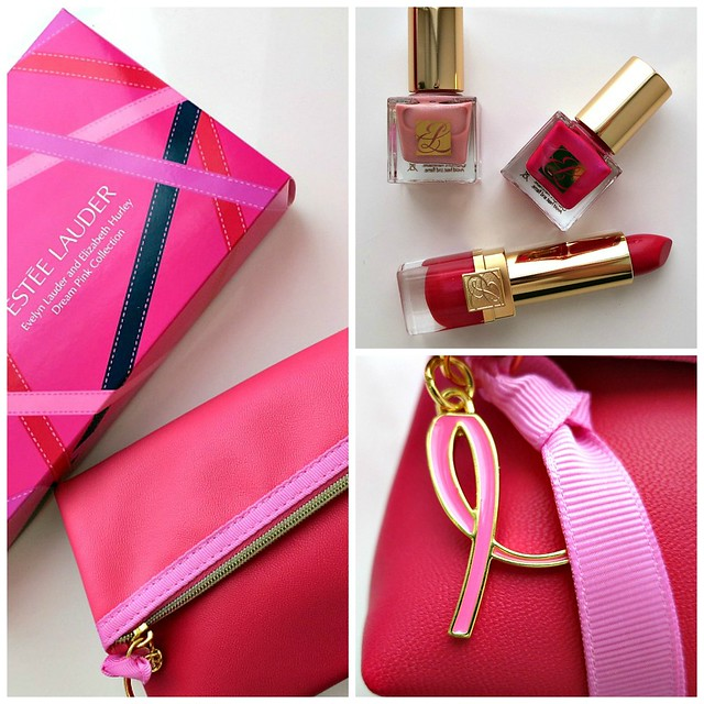 Evelyn Lauder and Elizabeth Hurley Dream Pink Collection, breast cancer awareness, Estee Lauder