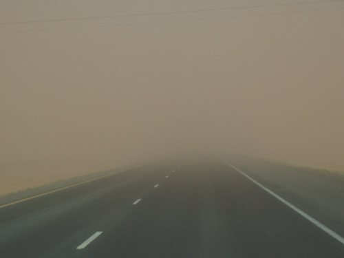 A dust storm in eastern Washington, creates almost zero visibility for drivers. Photo courtesy Spokane County Conservation District.
