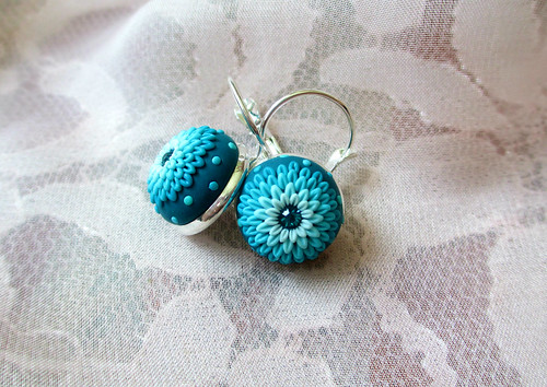 Ocean Blue Turquoise Snow Blue Earrings by Lena Handmade Jewelry Christmas gift Winter Embroidery Applique