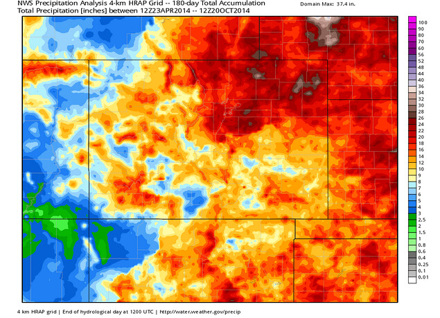 Total Precipitation Colorado April-October 2014