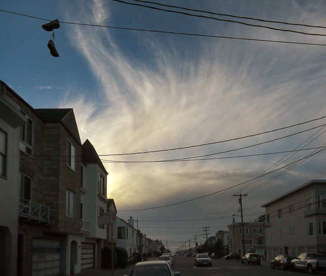 Cirrus clouds, late afternoon POV Irving St; The Sunset, San Francisco (2014)