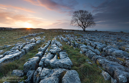 sunrise pavement limestone malham yorkshiredales