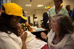 Ms Patrizia DiGiovanni, Acting Representative to UNICEF Ethiopia vaccinates a child at the celebration of the World Polio Day in Ethiopia