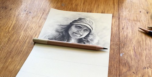 Carbon pencil portrait entitled Rebecca.