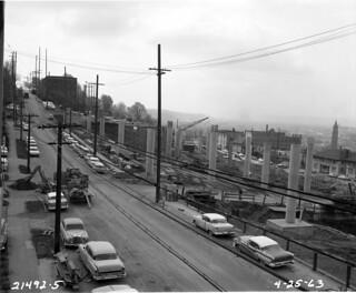 James Street freeway overpass under construction, 1963