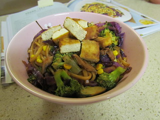 Omaha Yakisoba with Red Cabbage and Corn; Sesame Tofu