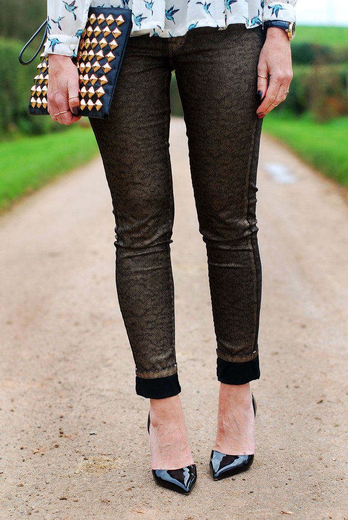 Bird print blouse, gold brocade jeans (over 40 fashion)