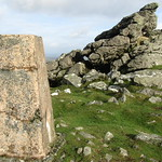 Trig point on Sourton Tors
