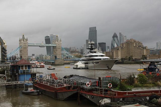 Tower Bridge, London, with 'Kismet' luxury yacht