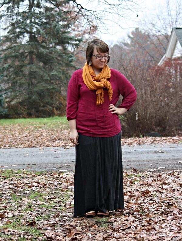rose tunic, mustard scarf, maxi skirt