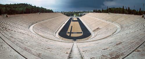 sky panorama view stadium wide wideangle athens thunderstorm thunder panathenaic