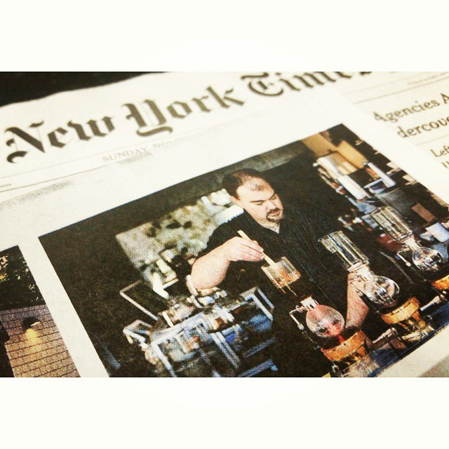 So... pretty normal weekend, had fun with the dogs, entertained the baby, and oh yeah, John had his picture in The New York Times! #caffedbolla #thenewyorktimes #siphoncoffee #shokunin