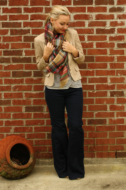 tartan scarf + tan blazer