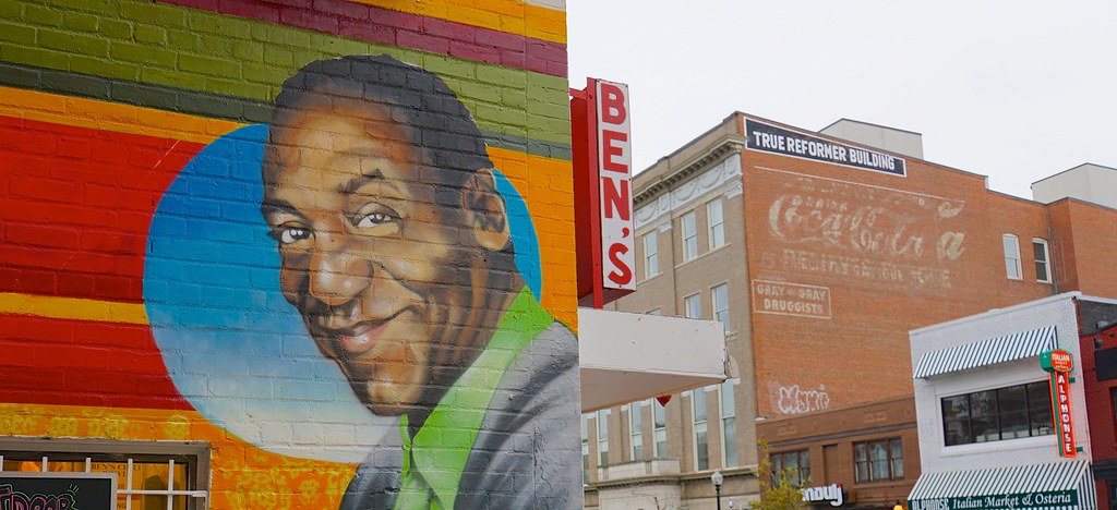 A mural of Bill Cosby adorns Ben's Chili Bowl in Washington, DC