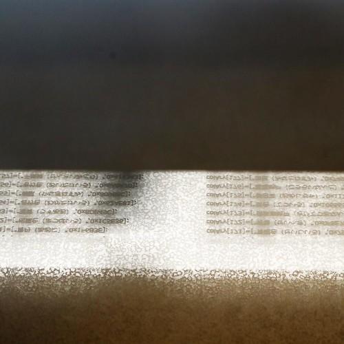 レーザー加工機で、アクリル板に色の名前とそのコードを刻印していきます。 #makersbase