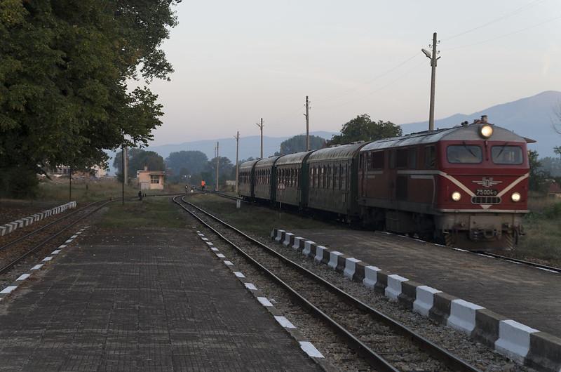 Train arriving at the Bansko narrow gauge railway station, 16.09.2015.
