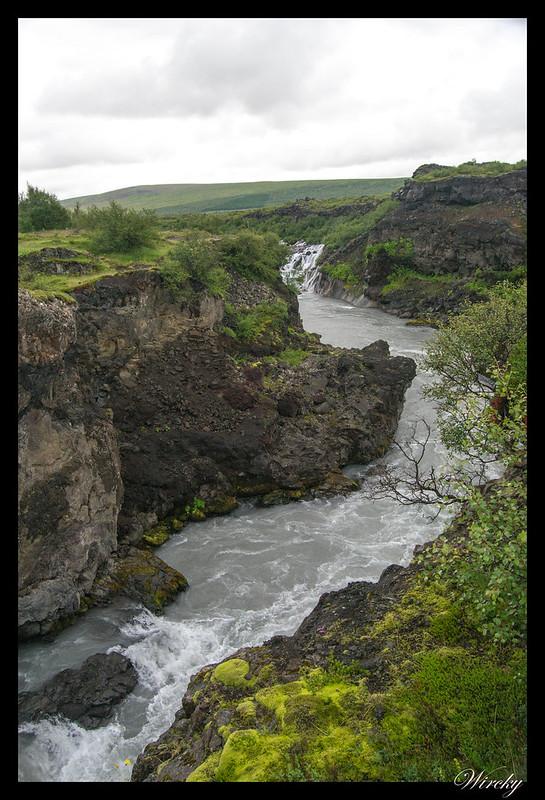 Río Hvitá y cascada Barnafoss