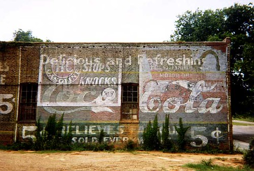 Photo by William Christenberry, Coca-Cola 5 Cent Wall, Demopolis, 1976