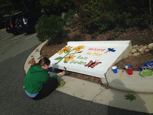 Image of the Welcome to the Rain Garden storm drain art