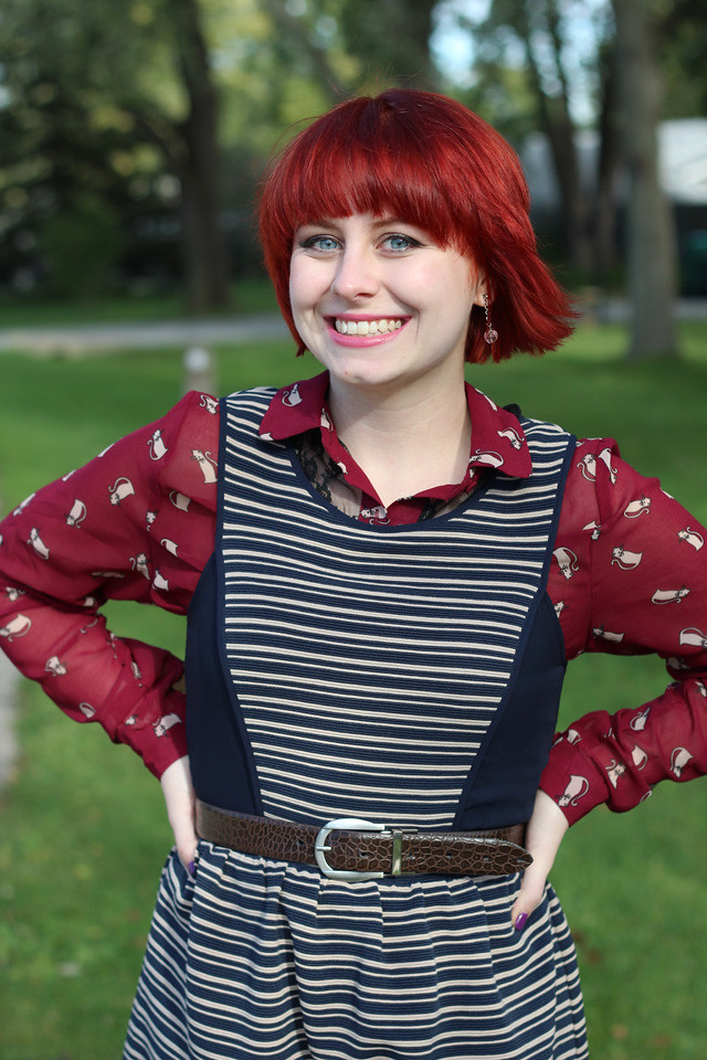 Navy Striped Dress, Cat Print Button Down, and Short Red Hair