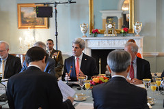 U.S. Secretary of State John Kerry and U.S. Secretary of Defense Chuck Hagel hold a working breakfast with Republic of Korea Foreign Minister Yun Byung-se and Republic of Korea Minister of National Defense Han Min-Koo at the 2+2 Ministerial with the Republic of Korea, at the U.S. Department of State in Washington, D.C., on October 24, 2014. [State Department photo/ Public Domain]
