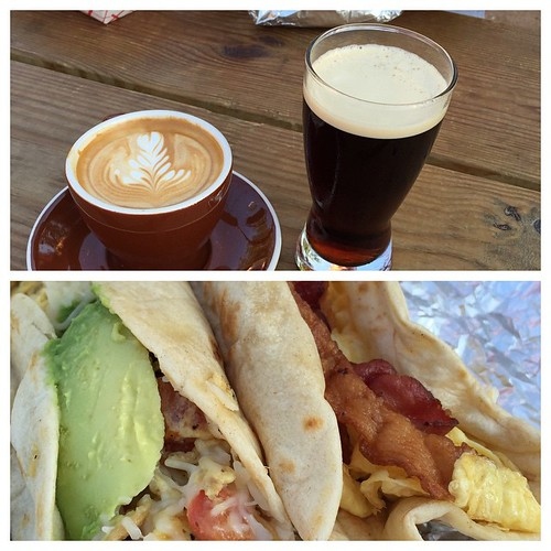 The perfect  Austin breakfast @radiocoffeeandbeer. Cortado, Stumptown cold brew, migas, and breakfast tacos.