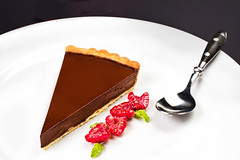 Delicious Piece of Sweet chocolate pie  with fresh…
