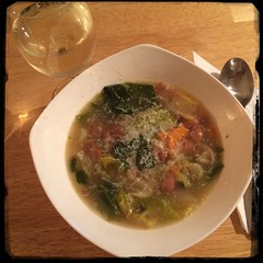 Zuppa di Scarola e Fagioli - served with  #PecorinoRomano #Cheese and white #Wine of course