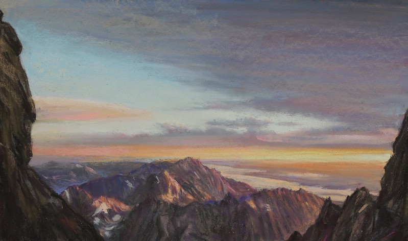 """pastel, 14 x 28 in.This pastel is my first study for this view, one of the most spectacular we saw on our climb. (See blog post for August 20th, """"Owen-Spaulding Route on the Grand."""")"""
