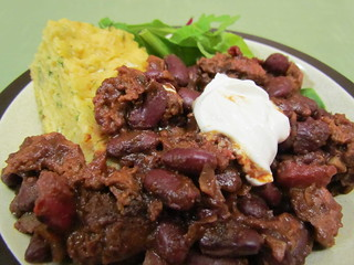 Chocolate Stout Chili; Skillet Cornbread