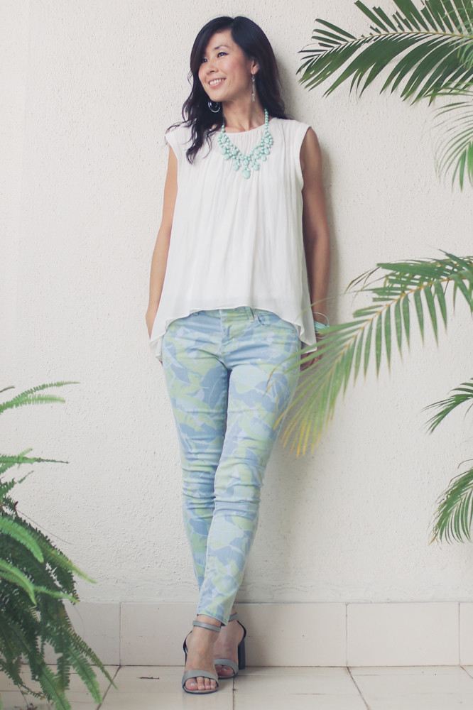 Gap flower print pants Zara shirt Forever 21 necklace_-5