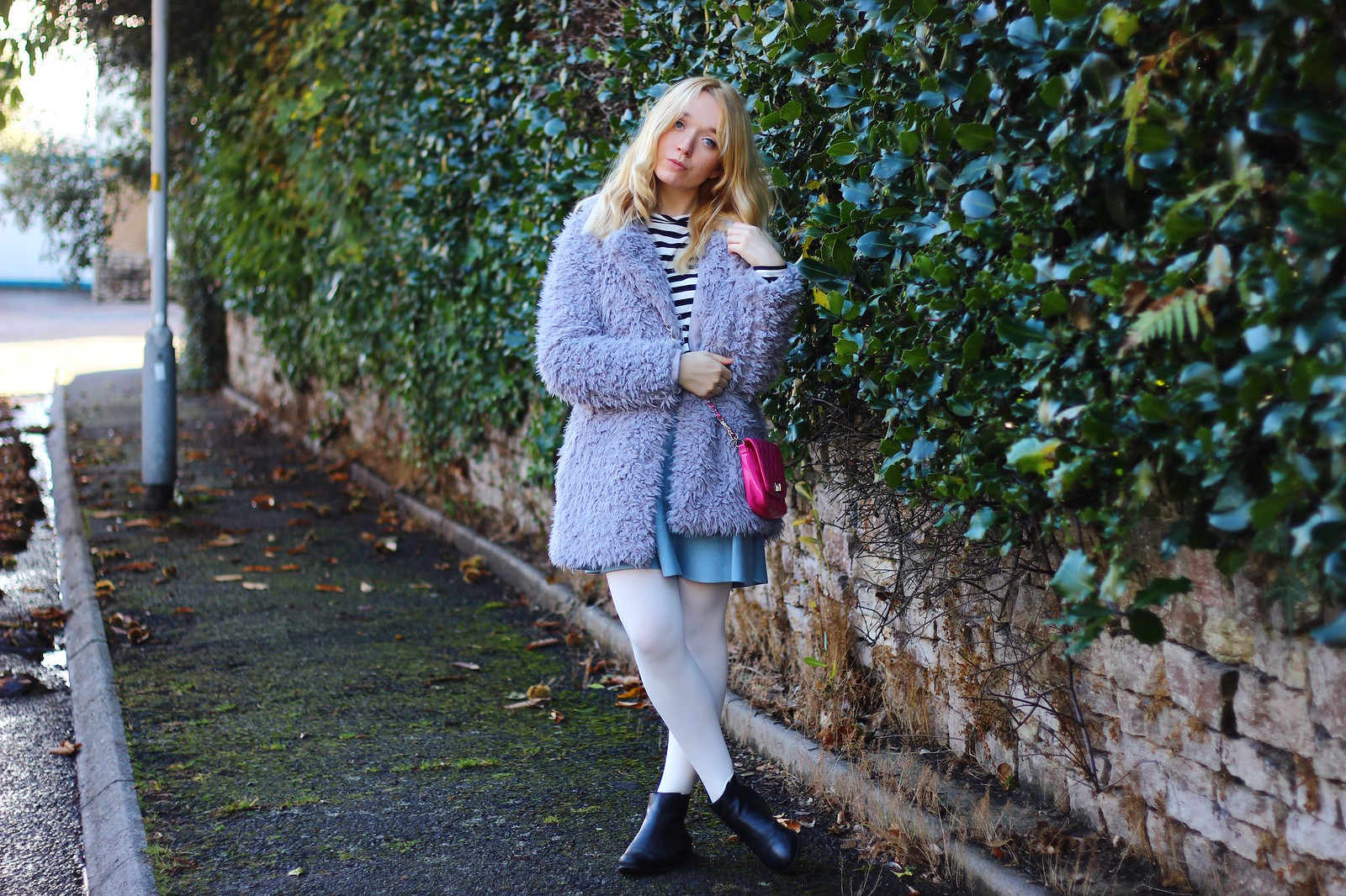 3lilaccoat, pastel outfit, fluffy coat