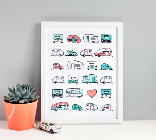 New: Vintage Trailer Caravan Art Print