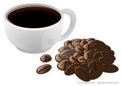 Brewed Coffee in Cup and Coffee Beans Vector Illus…