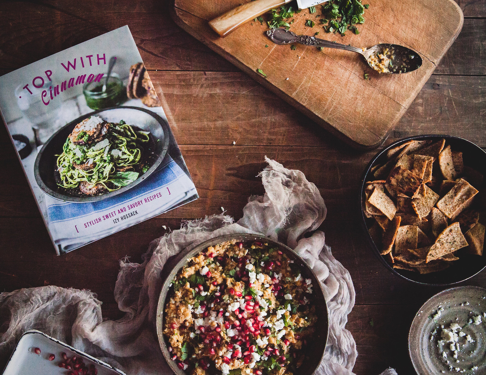 Chickpea & Pomegranate Dip + Tasty Pitta Chips, from the Top With Cinnamon cookbook