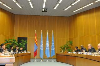 The President of Mongolia, Tsakhiagiin Elbegdorj, visiting the UN in Vienna on 15 October 2014