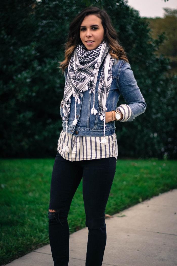 denim jacket. distressed black skinny jeans. fall layers. casual fall style. andrea viza. va darling. dc style fashion blogger. fashion blogger.11