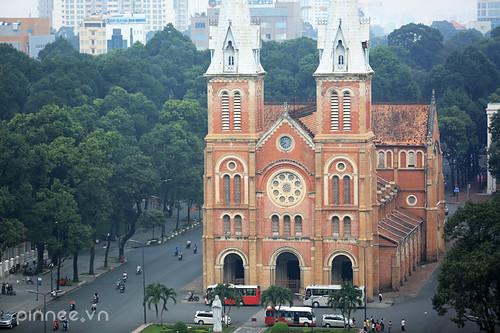 church asia southeastasia cityscape fromabove vietnam saigon southvietnam achurch a highangleview asiaimages southeastasiaimages saigonfromabove churchinsaigon cathédralenotredamedesaigon