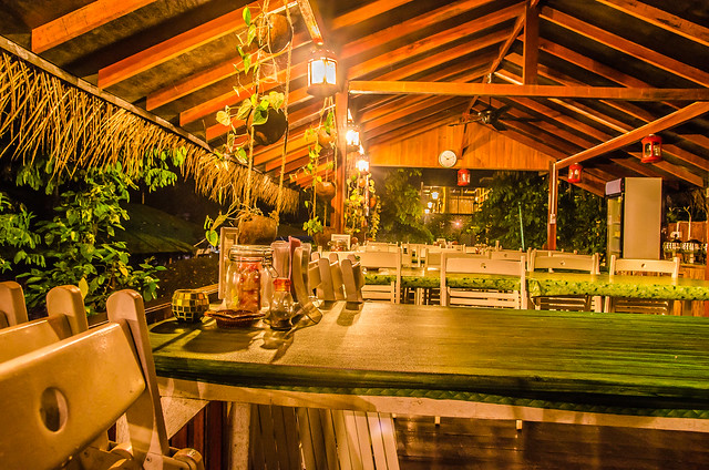 Tanah Aina Farrah Soraya Eco Tourism Resort's dining place during night time