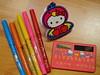 Hello Kitty felt tip pens, Chicken costume notepad & solar powered calculator