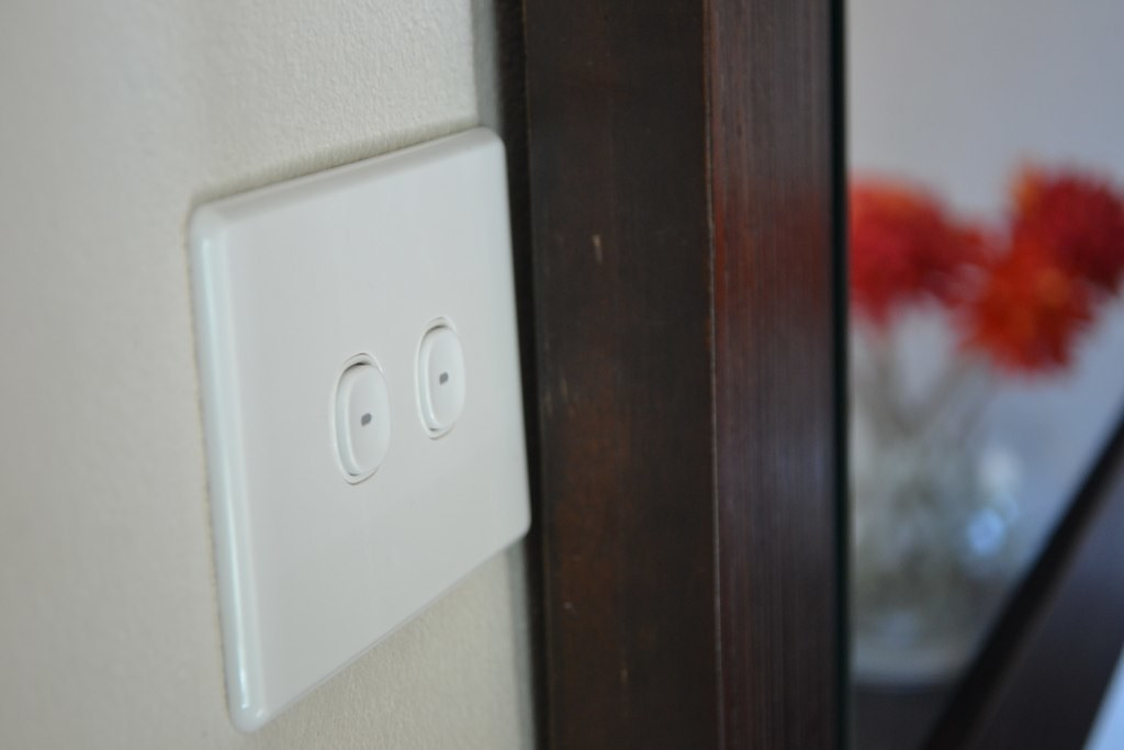 The wall plate tucks in all the chaos hidden inside.