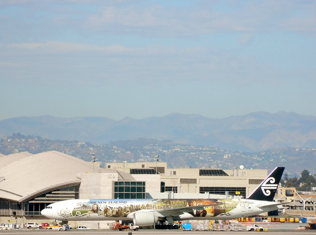 Air New Zealand ZK-OKP special 'Hobbit' livery Boeing 777-319/ER jet  taxiing to her gate @ LAX airport.