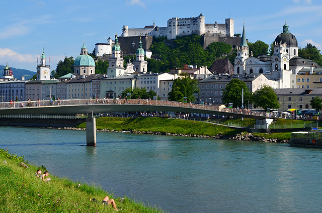 From the river, Hohensaltzburg Fortress, Salzburg