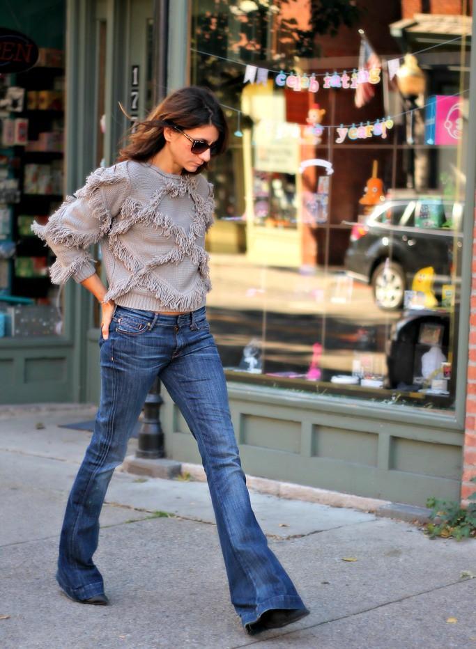 IMG_7018, fringe, fringe sweater, flared jeans, 7FAM, choies