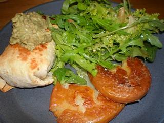 Gimme Chimis; Potato Squashers; Cumin-Cinnamon Vinaigrette; Guacamole con Alga Marina